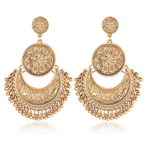 Smdoxi Vintage Hollow Out Retro Moon Sun Earrings for Women Long Drops Earings Vintage Art Deco Designer Cubic Zirconia Wedding, Bridal or Prom Earrings with Pave Tassel -