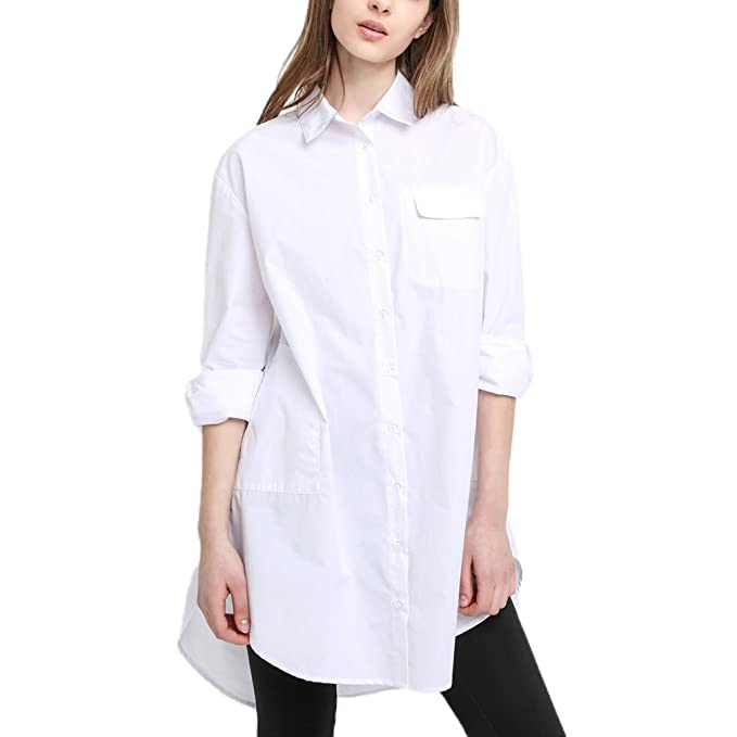 706ad06d96af74 HaoDuoYi Womens Boyfriend Loose Button Down High Low Top Shirt Dress(S,White )