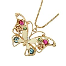 """White Butterfly Multi-Colored Acrylic Beads Pendant Goldtone Necklace, 18+3"""" Ext."""