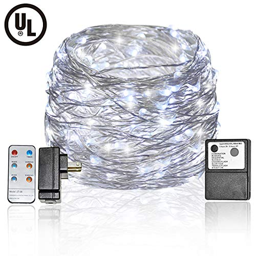 Plug-in Fairy Lights LED Fairy String Lights 33 Feet 100 LED 8 Modes Silver Wire Twinkle Fairy Lights Remote Control Firefly String Lights for Bedroom, Wedding, Party Decoration (Cool White)