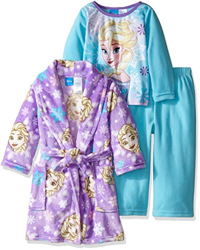 Disney Little Girls' Toddler Frozen Elsa 2-Piece Pajama Set with Robe, Blue/Purple, 5T (Toddler Girl Robe)