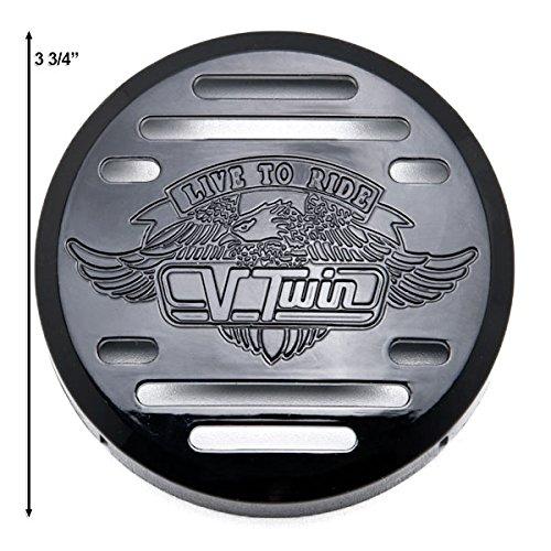 Krator Round Horn Black Live to Ride Eagle Horn Cover For 2003-2008 Yamaha V-Star 650 Classic Custom