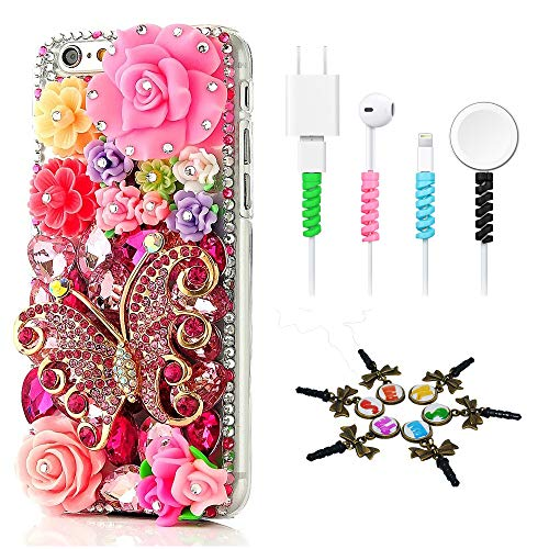 - STENES Bling Case Compatible with iPhone 7 / iPhone 8 - Stylish - 3D Handmade [Sparkle Series] Butterfly Colorful Rose Flowers Design Cover with Cable Protector [4 Pack] - Red