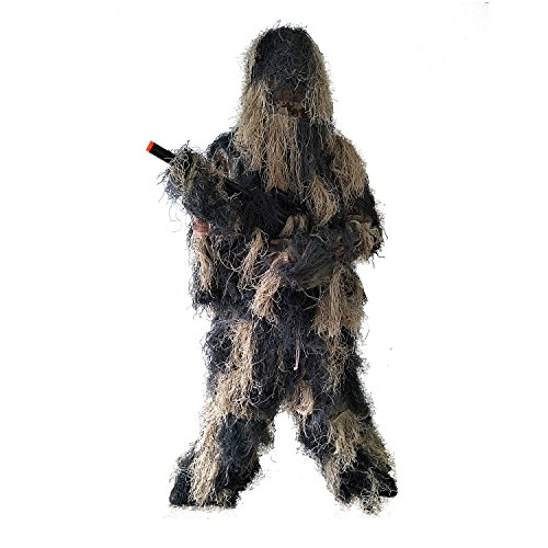 BESTHUNTINER Adult Ghillie Suit Camouflage Suit For Hunting Shooting Airsoft Wildlife Photography or Halloween 5 Pieces Jacket&Pants&Hood&Rifle Wrap&Carry Bag And Two Size Adult Size (Ghillie Suits Boot)