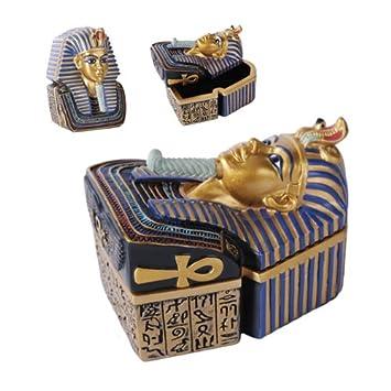 Río Nilo egipcio King Faraón Tutankamón Busto máscara joyería Trinket Box Figura Decor