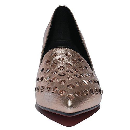 Minivog Strass Bloc Moyen Talon Femmes Pompe Chaussure Rose