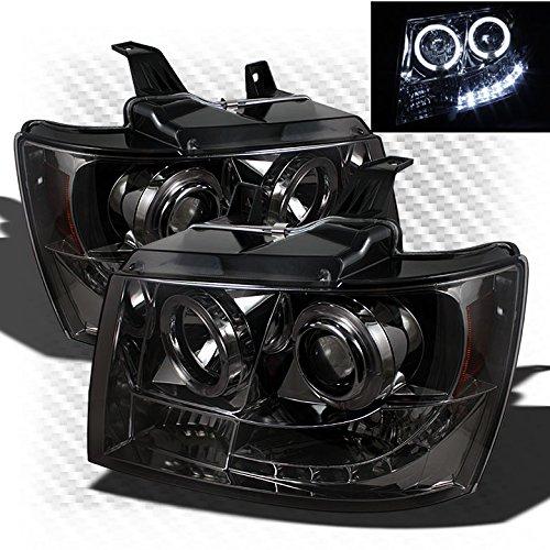 Xtune Smoked 2007-2014 Chevy Suburban Tahoe Halo LED Projector Headlights Head Light Smoke Pair L+R 2008 2009 2010 2011 2012