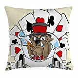 Lunarable Poker Tournament Throw Pillow Cushion Cover, Cartoon Style Bulldog with Playing Cards Ribbon Rich Winner Image Print, Decorative Square Accent Pillow Case, 36 X 36 inches, Multicolor
