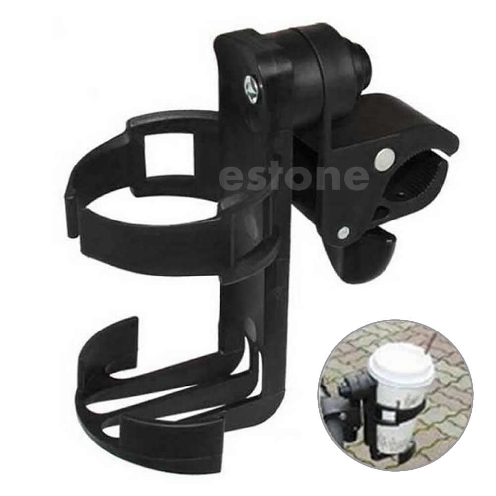 Shoresu Baby Stroller Accessories Cup Holder Cart Bottle Rack for Milk Water Pushchair Carriage Buggy Adjustable Black