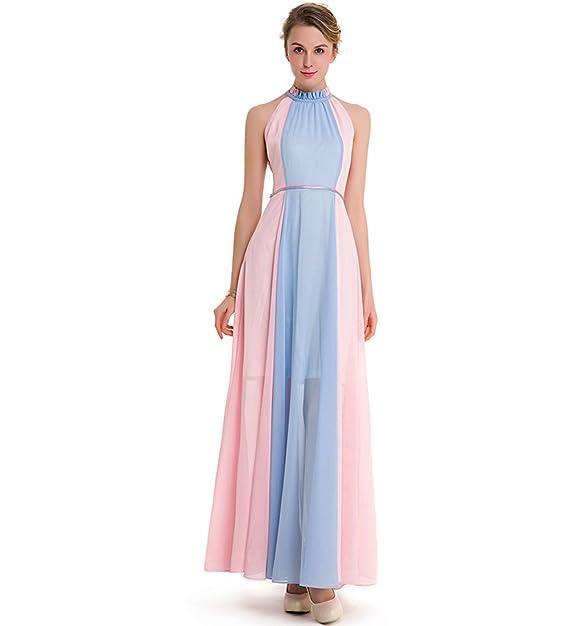 d29f9a301938 KAXIDY Vestiti da Donna Lungo Vestito Vestiti Eleganti per Ragazze Abiti di  Sera Vestito da Sera Rosa+Blu  Amazon.it  Abbigliamento