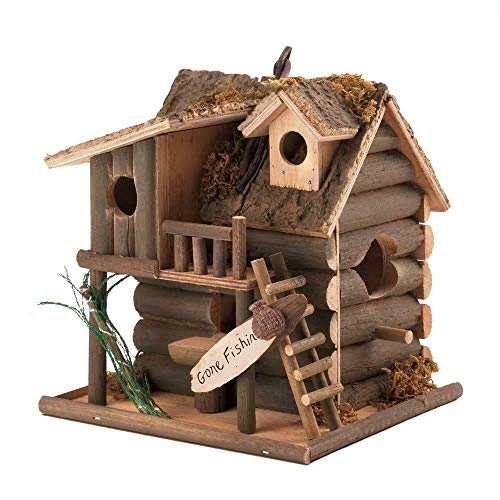 Wan-DD Bird House Birdhouse Statue Gone Fishing Rustic Log Lake Cabin Wood Fairy ()
