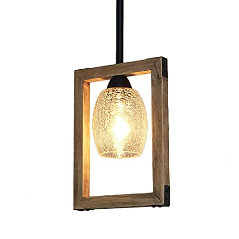 Giluta Long Square Frame Pendant Light with Crack Glass Shade Wood ...