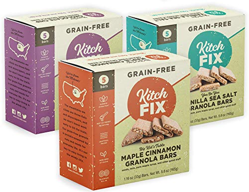 Kitchfix Grain-Free Paleo Granola Bars - Variety Pack | Plant-based protein from nuts and seeds | Low sugar | Gluten-free, grain free, low carb granola, Paleo and vegan | 3 Flavors