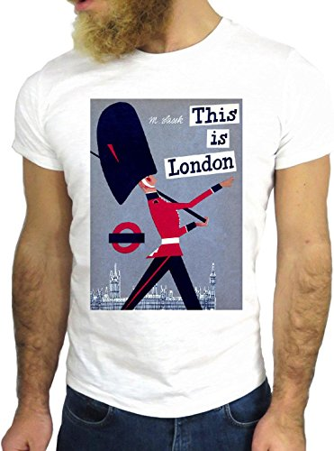T-SHIRT JODE GGG24 Z1207 LONDON QUEEN UK UNITED KINGDOM QUOTE UNDERGROUND BIANCA - WHITE M