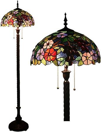 MTTK Lámpara de pie de diseño de jardín de Estilo Tiffany, luz de 16 Pulgadas 2 Luces de Flores & Arte de la UVA, lámpara Interior de Vidrio teñido a Mano: Amazon.es: