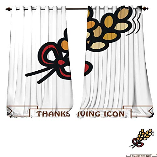 Light Wheat Chandelier 4 (DESPKON-HOME Decorative Curtains for Living Room Spikelets Wheat icon Harvest Thanksgiving Vector Blackout Window Curtain Panel -W84 x L84/Pair)