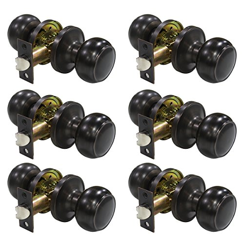 robrico Passage Door Knobs Handles Lock Oil Rubbed Bronze Colonial Knobs For Hall / Closets Pack of 6