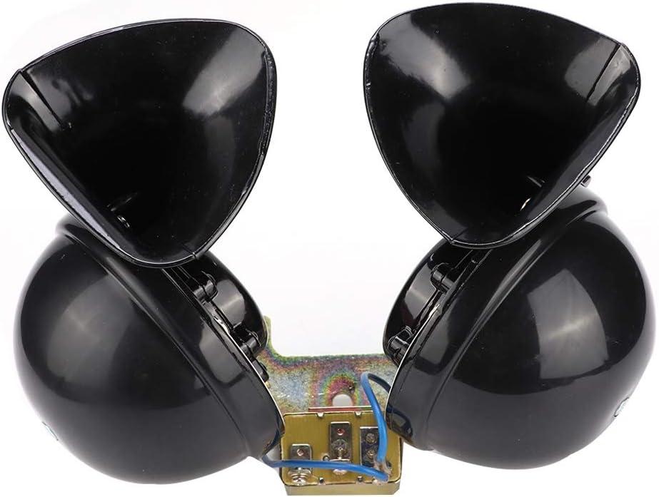 Fydun Accesorio de diseño de bocina eléctrica de tren de camión de caracol doble de 24 V Cuerno de coche eléctrico universal de 24 V Cuerno de caracol eléctrico negro para barco de camión de coche