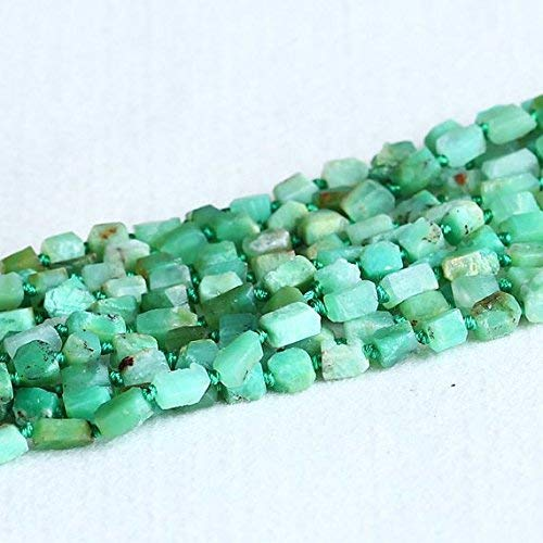 - 1 Strands Natural Grass Green Australia Jade Chrysoprase Hand Cut Nugget Free Form Loose Rough Matte Faceted Beads 5-7mm 15