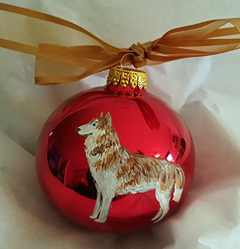 Siberian Husky Sable Dog Hand Painted Christmas Ornament - Can Be Personalized with Name