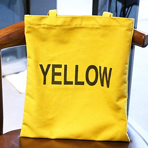 """1 bolso de hombro para mujer, casual, para playa, bandolera, bolso de mano, bolsa de la compra de lona 12.60"""" x 0.39"""" x 12.99"""" amarillo Amarillo"""