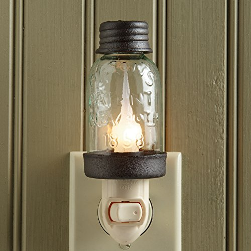 Mini Mason Jar Night Light in Rustic Brown Metal Color