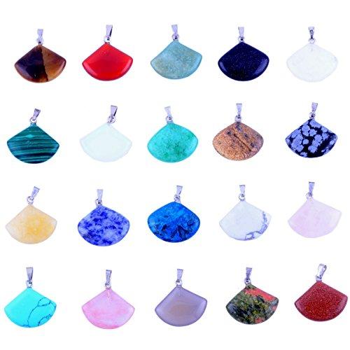 Fan Pendant Bead (20pcs Fan Shape Healing Chakra Beads Crystal Quartz DIY Stone Random Color Gemstone Pendants for Necklace Earring Jewelry Making)