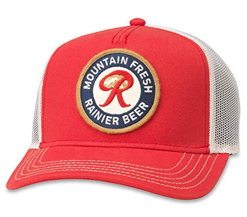 American Needle Valin Rainier Beer Mountain Fresh Trucker Hat (PBC-1908B-IRED)