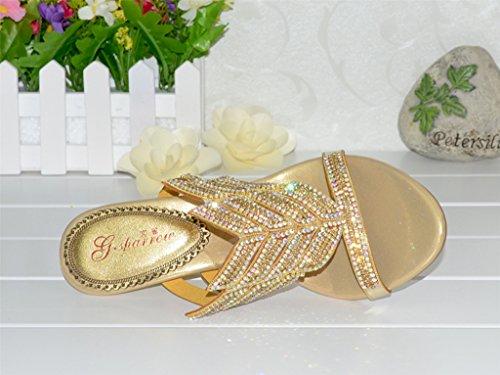 Crc Vrouwen Unieke Sparrow Sparkle Strass Lederen Prom Bruiloft Partij Sandalen Slippers Sleehak-goud