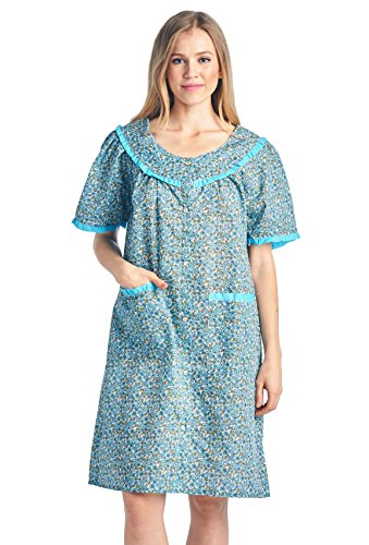 Casual Nights Women's Waltz-Length Snap House Duster Robe - Blue - Medium
