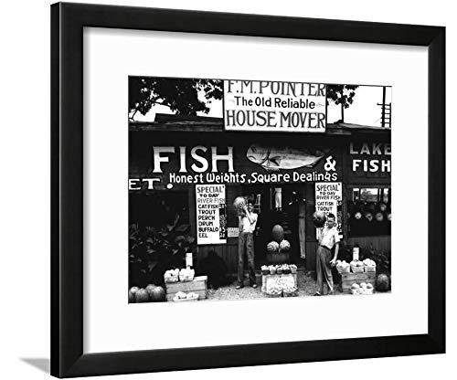 (ArtEdge Roadside Stand Near Birmingham, Alabama by Walker Evans, Black Matted Wall Art Framed Print, 12 x 16, Soft White)