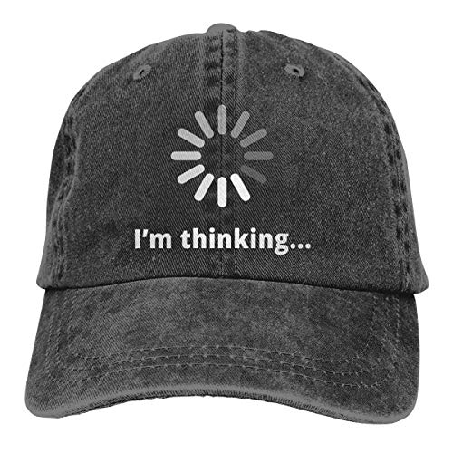 Waldeal Unisex I'm Thinking Computer Nerd Vintage Adjustable Baseball Cap Washed Denim Dat Hat Black -