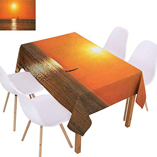 (Rectangular Tablecloth Nautical Small Yacht Sailboat on Lake Michigan at Sunset Nautical Serenity Maritime Culture Easy to Clean W59 xL71 Orange)