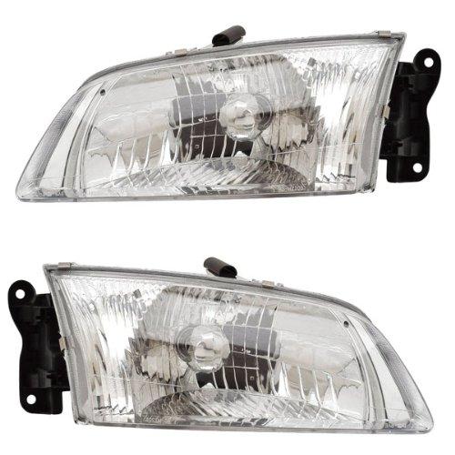 2000-2001-2002 MAZDA 626 Headlight Headlamp Halogen Composite Front Head Light Lamp Pair Set Right Passenger AND Left Driver Side (00 01 02) ()