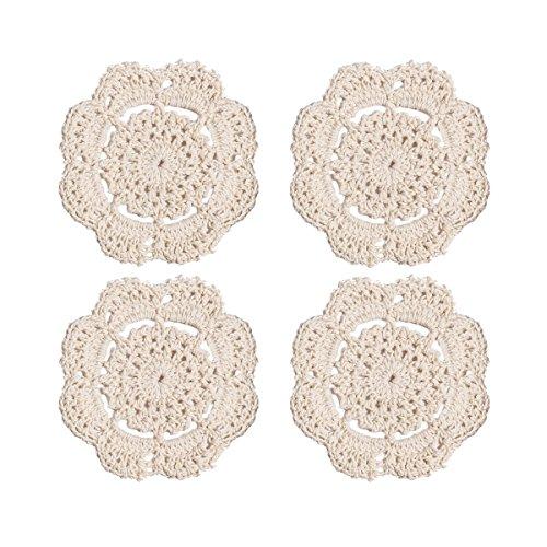 Phantomon Lace Round Crochet Doilies Handmade Coasters, 4-Inch, Pack of 4 (Beige) ()