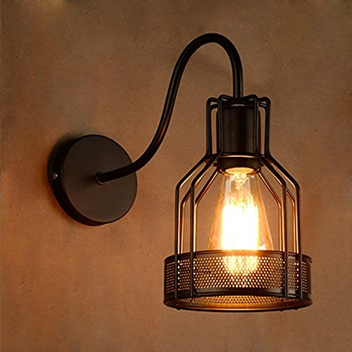 JINGUO Lighting Industrial Vintage 1-Light Wall Sconce Wall Lamp Lights Sconces Gooseneck Fixture Arm with Lantern Style Metal Cage for Indoor Restaurant Bar Cafe Club Hallway Black Finished - Cage Lantern Wall Fixture