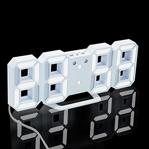 Digital LED Clock Display, Gotd Night Light Table Desk Wall Clock Alarm Watch 24 or 12 Hour (White)