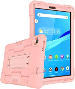 Cherrry for Lenovo Tab M8 8.0 Inch Case,Hybrid Three Layer Full-Body Shockproof Armor Defender Full-Body Rugged Protective Case Cover with Stand for Lenovo Tab M8/M8 Smart Tab 8.0 Tablet (Rose Gold)