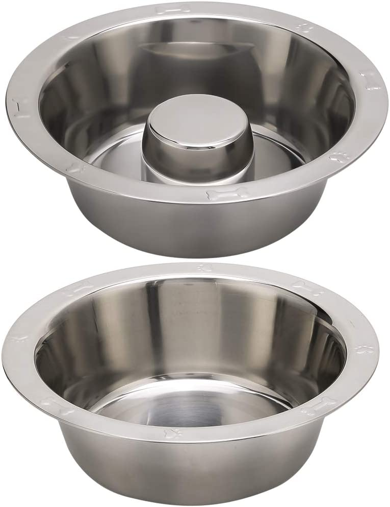 BINGPET Stainless Steel Slow Feed Dog Bowl - 4 Cup Extra Large Pet Slow Feeder, 2 Standard Metal Bowls Fit Elevated Feeders, Eating Bowl, Stops Dog Food Gulping, Dog Food and Water Bowl