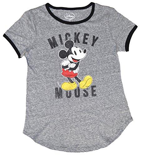 Heather Ringer Juniors T-shirt (Disney Mickey and Minnie Mouse Ringer Juniors T-Shirt (L(11/13), Heather Gray))