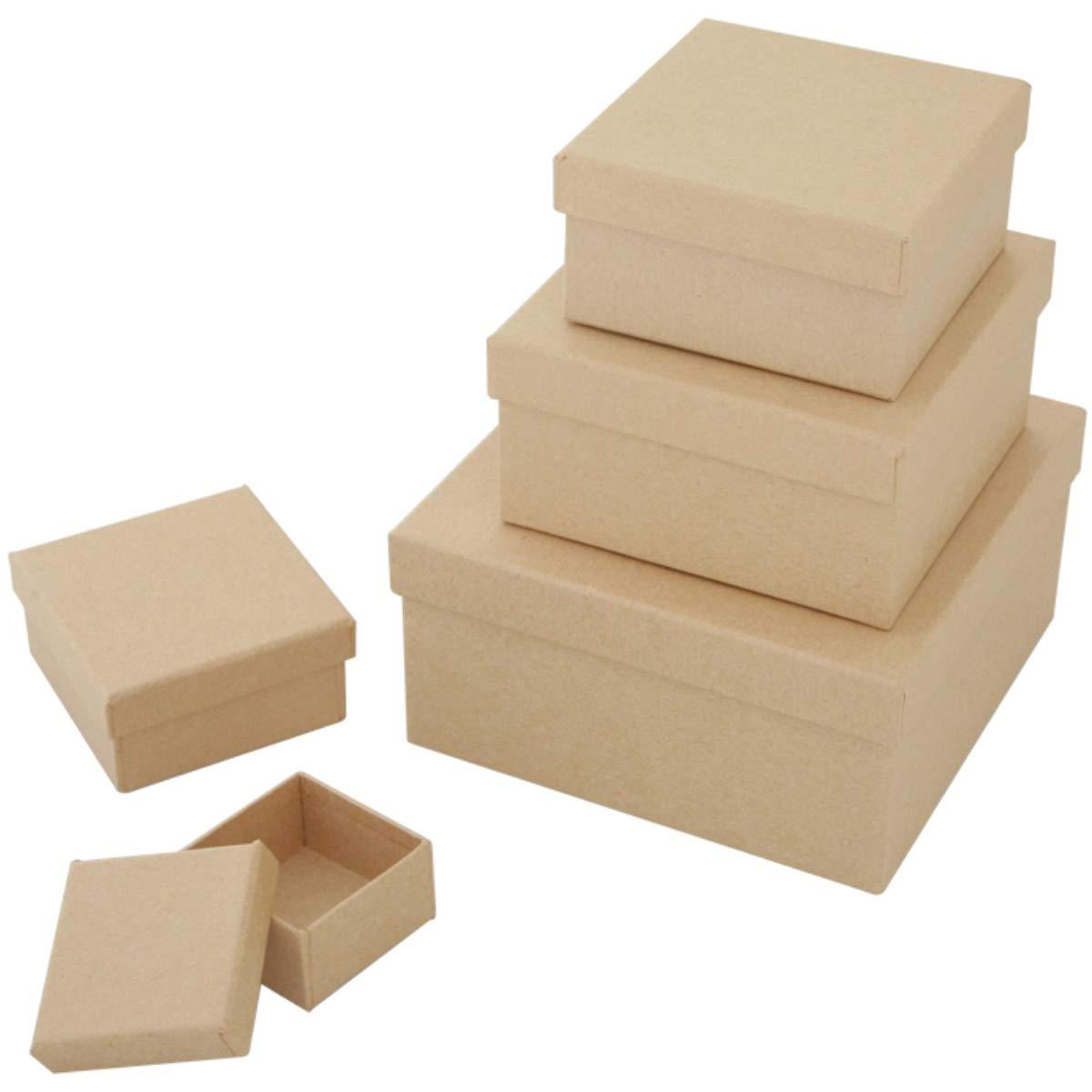 Art Alternatives MVPM06201 Paper-Mache Square Box Set 5//Pkg