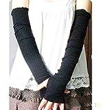 Bluelans Fashion Women's Arm Warmer Cotton Long Fingerless Gloves Mitten (Black)