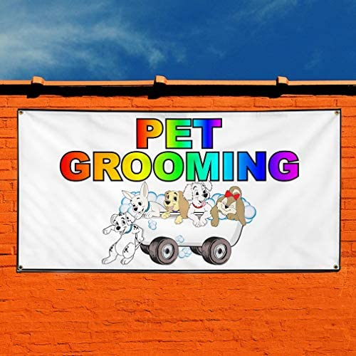 Vinyl Banner Sign Dog Grooming #1 Business Breed Outdoor Marketing Advertising Blue Multiple Sizes Available 28inx70in 4 Grommets Set of 2