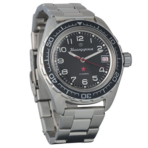 Auto Power Reserve Mens Watch - BRAND NEW! Vostok Komandirskie 200 WR Mechanical AUTO Self-winding Mens Military Wrist Watch #020706