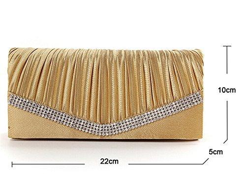 Wedding Gold Women's With Satin Party Evening Gift Handbag Envelope Shoulder Da Gold Birthday Strap Wa Clutches Elegant For Bag Clutch Bags ax4qwcWSBR