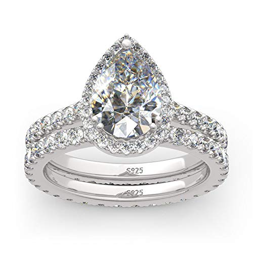 (MDEAN Engagement Ring Set 925 Sterling Silver 1.5Ct Pear AAA Cz Eternity Jewelry for Women Size 6-9)
