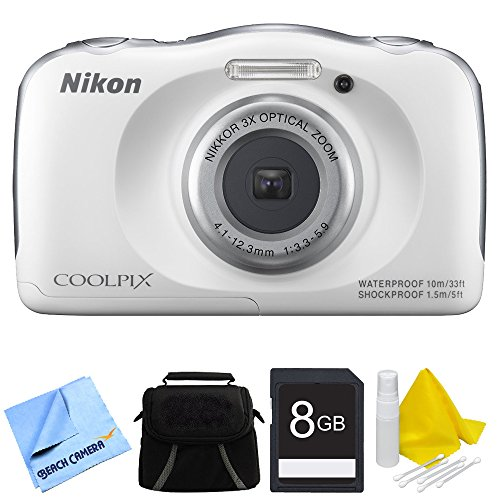 Nikon COOLPIX S33 13.2MP Waterproof Shockproof Freezeproof Digital Camera White Bundle