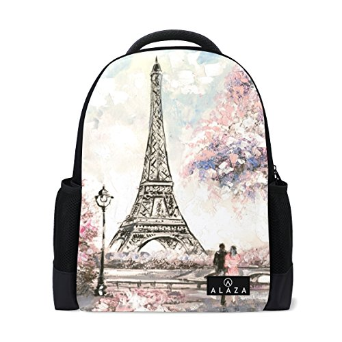 My Daily Eiffel Tower Paris Oil Painting Backpack 14 Inch Laptop Daypack Bookbag for Travel College School - Paris Laptop Carrying Backpack