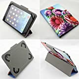 Universal 7 in All Models (7fl) Tablet Pc Case New Design , Ultra Slim , Low Weight and Fashionable (Only 7 Inch) (Sunflowers Flowers Purple Pink Blue)