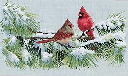 Dimensions 'Winter Cardinals' Counted Cross Stitch Kit, 16 Count Dove Grey Aida, 15